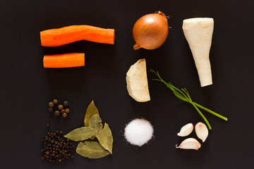the ingredients for vegetable soup