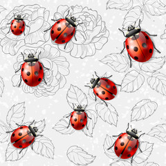 Seamless texture with flowers, leaves and ladybugs