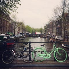 typical amsterdam scene with bikes