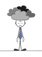 DEPRESSED STICKMAN (stress angry sad work office pressure)