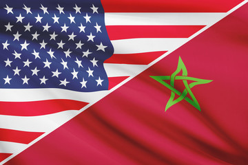 Series of ruffled flags. USA and Kingdom of Morocco.