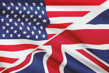 Series of flags. USA and Great Britain and Northern Ireland.