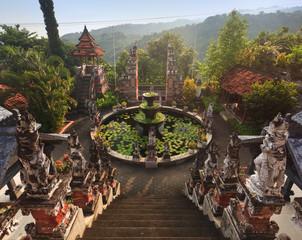 Banjar budhist temple Bali at sunrise, Bali landmark, Indonesia