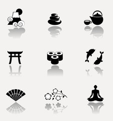 Japanese culture icon set. VECTOR illustration.