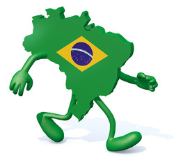 brasilian map with arms and legs walking