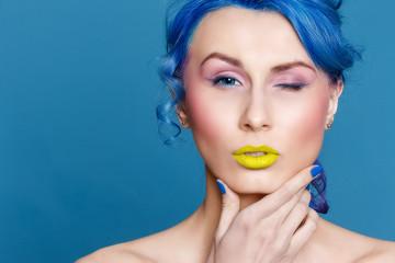 hair, blue, woman