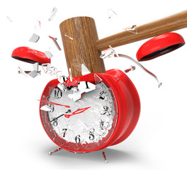 hammer hitting an alarm clock.