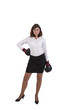 Young businesswoman with boxing gloves ready for conflict