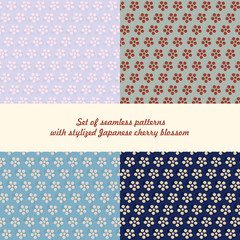 Set of seamless patterns flowers