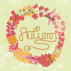 Stylish Vintage floral cards ,invitations with butterflies.Autum