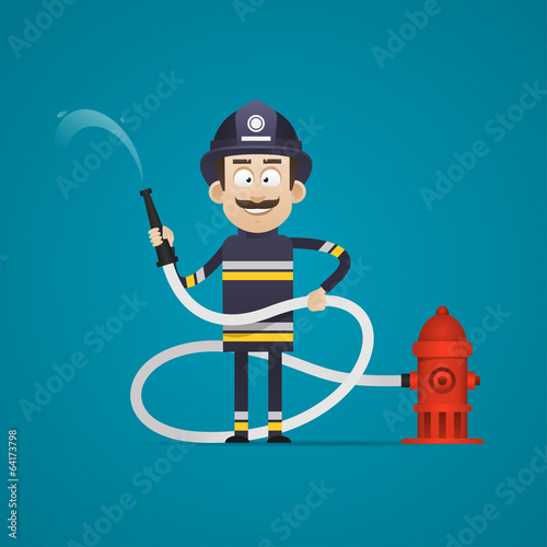Fireman holds fire hose and smiling