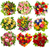 nine colorful flowers bouquet on white - 64173984