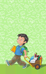 Template greeting card with schoolboy.