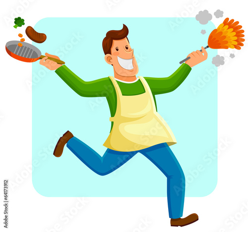 happy man cleaning and cooking
