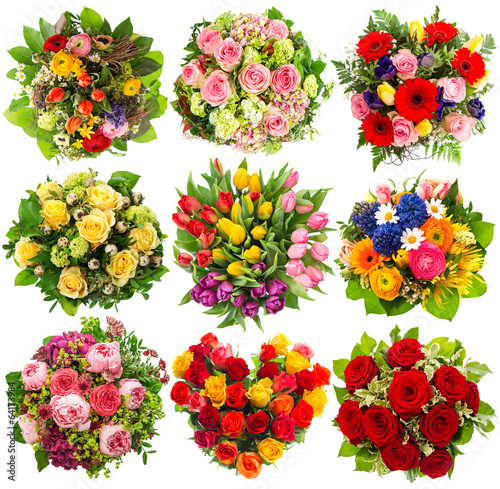 Aluminium Rozen nine colorful flowers bouquet on white