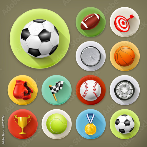 Sport, games and leisure, long shadow icon set