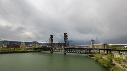 Steel Bridge across Willamette River in Portland Oregon