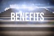 Benefits against steps against blue sky