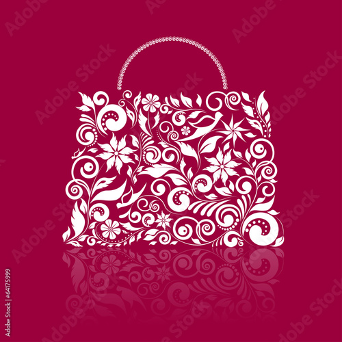 Bag shape with ornament on red background