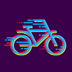 bicycle icon colored with color separation. line art