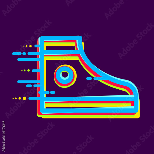 sneaker icon colored with color separation. line art