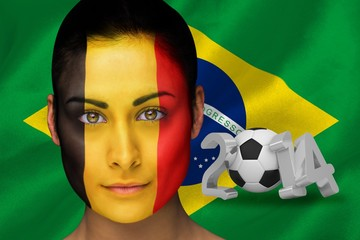 Composite image of belgium football fan in face paint