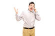 Excited man talking on the phone
