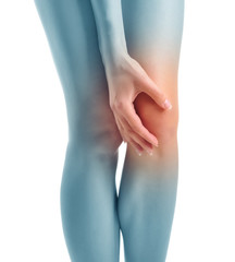 Concept phot. Acute pain in a woman knee. Isolated.