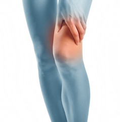 Acute pain in a woman knee. Concept photo.