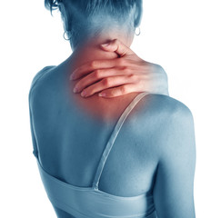 Acute pain in a neck at the young girl. Concept photo.