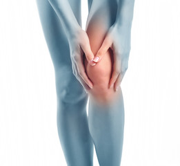 Woman having knee pain isolated on a white background
