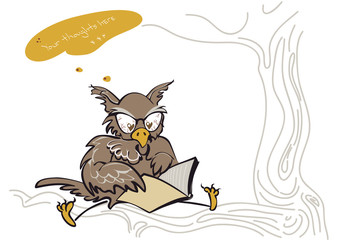 Thinking owl sitting on a tree branch and reading a book