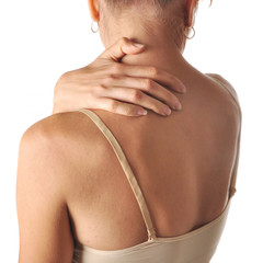 young woman holding his back in pain