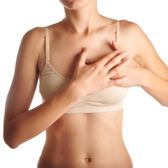 Acute pain in a woman chest.