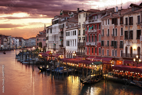 Plexiglas Venetie Venice Grand Canal at night