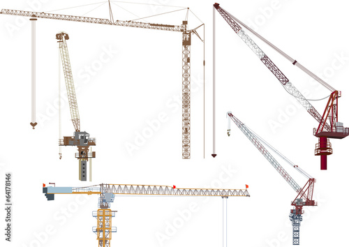 five industrial cranes isolated on white