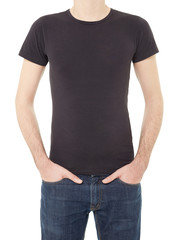 Black t-shirt on man isolated on white, clipping path