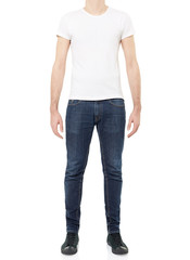 White t-shirt on man isolated, clipping path included