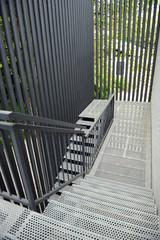 Escalera de evacuación, salida de emergencia del edificio