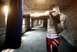Young man boxing workout in an old building - 64179342