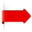 Long red arrow sticker with shadow & copy space