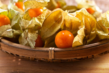 Physalis on a wooden table