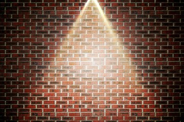 Red brick wall under spotlight