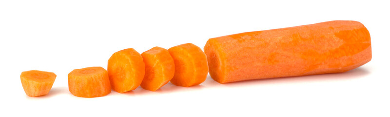 Peeled fresh carrots isolated on white background