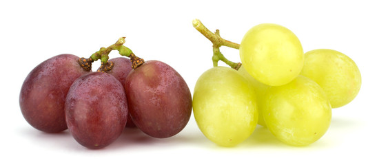 Green and red grape bunch isolated on white background