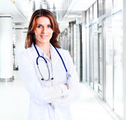 Smiling medical woman doctor at Hospital