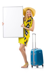 Woman preparing for vacation with suitcase and blank  board isol