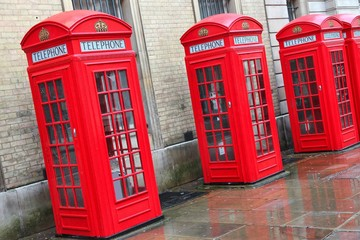 London, UK - Broad Court telephone booths