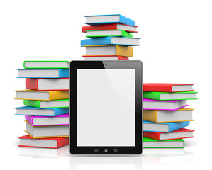 Tablet Pc Ahead of Piles of Books