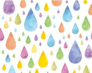 雨・水玉模様・水彩イメージ素材